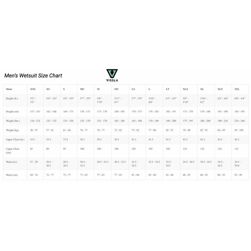 Vissla Wetsuit Size Chart Mens