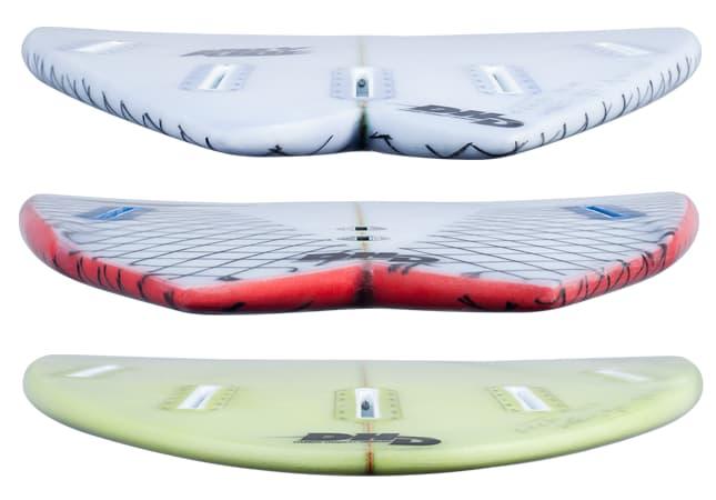 DHD surfboards tail shape comparison joyride, twin fin, pocket knife