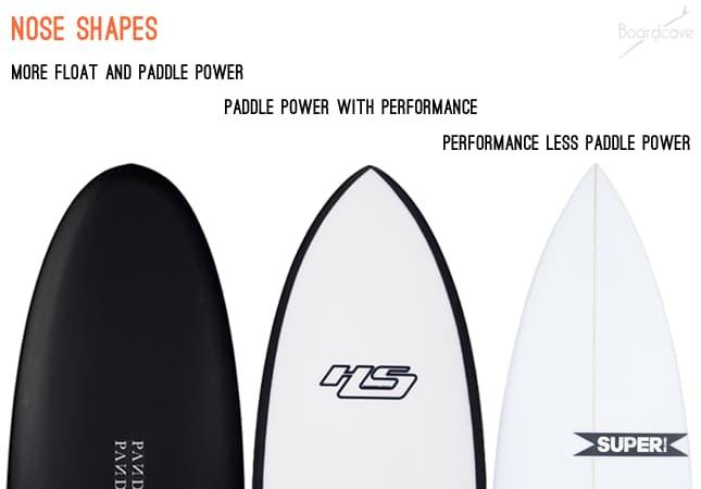 different surfboard nose shapes comparison