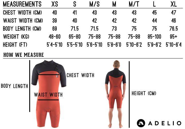 wetsuit size chart full length size guide